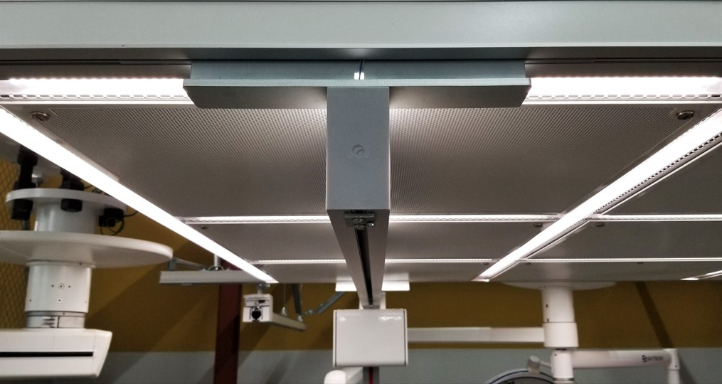 Closeup of the integrated rails of a safe patient handling lift